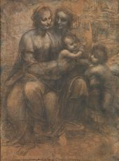 "LEONARDO DA VINCI (1452-1519). The Virgin and Child with St. Anne and the Infant St. John the Baptist (""The Burlington House Cartoon""). c. 1499-1500"