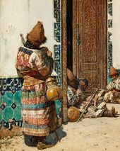 VASILY VERESHCHAGIN. Monks at the Door of a Mosque. 1870s