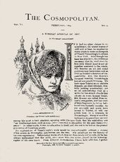 VALERIAN GRIBOYEDOV. Illustration of Lydia Andreevskaya, the pianist at Vereshchagin's American exhibitions, The Cosmopolitan, 1889