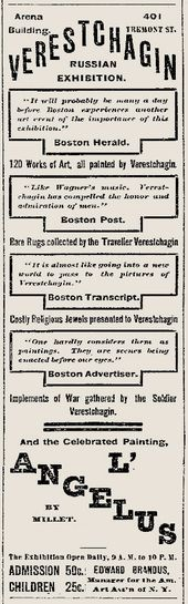 Advertisement for Vereshchagin's exhibition in Boston, The Boston Herald, 1890