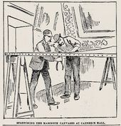 """Stretching the Mammoth Canvases at Carnegie Hall"". The Pittsburgh Dispatch, 1891"