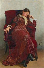 Ilya REPIN. Rest. Portrait of Vera Repina, the Artist's Wife. 1882