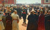 И.Е. РЕПИН. Прием волостных старшин Александром III во дворе Петровского дворца в Москве. 1886