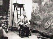 "Ilya Repin with the painting ""The Hopak Dance (The Zaporozhye Cossacks Dancing)"". Photograph. 1927"