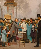 Ilya Repin. A Seller of News in Paris. 1873