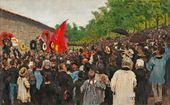 Ilya Repin. The Annual Memorial Meeting Near the Wall of the Communards in the Cemetery of Père Lachaise in Paris. 1883