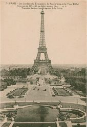 Paris. View of the Trocadéro Garden, the Pont d'Iéna and the Eiffel Tower. Postcard. Late 19th century
