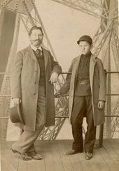 Ilya Repin with his son Yury at the Eiffel Tower during their visit to the World Fair, Paris [1889]