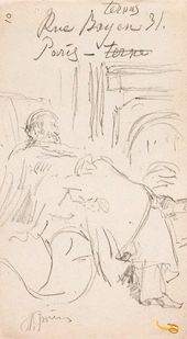 Ilya Repin. Vladimir Stasov Resting in a Chair by the Fireplace. Paris. Sheet from an album. 1889