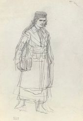 Ilya REPIN. A Girl Walking with a Portfolio. Late 1870s