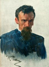 "ILYA REPIN. Head of a Man. Sketch for the painting ""They Did Not Expect Him"" (1884-1888, Tretyakov Gallery)"
