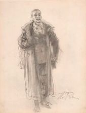 "Ilya REPIN. Figure of a Man. Sketch for the painting ""They Did Not Expect Him"" (1884-1888, Tretyakov Gallery)"