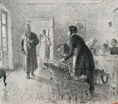 И.Е РЕПИН. Рисунок с картины «Не ждали», исполненной в 1884 году, до переписки головы входящего