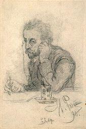 Ilya REPIN (?). Portrait of a Man (Portrait of Ivan Leontiev (Shcheglov)). 1890 (?)