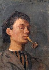 Yury REPIN. Self-portrait with a Pipe. 1898