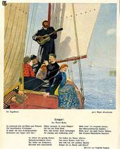"1914 poster reproduction of Yury Repin's painting ""In the Sailing Boat"" (1906, present whereabouts unknown)"
