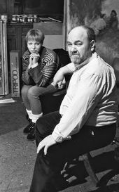 Anatoly Slepyshev and his daughter Anastasia. Moscow. 2000s