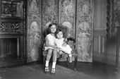 Monique and Odile, granddaughters of Constantin Kousnetzoff, at the family home on the Boulevard du Montparnasse. Photograph. c.1933. Paris
