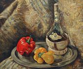 Yevgenia Lang. Still-life with a Bottle of Chianti. 1940s