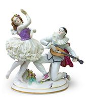 "Sculptural composition of ""Pierrot and Papillon"" in the ballet ""Carnaval"". From the ""Ballets Russes"" series Porcelain Manufactory Aelteste Volkstedter Porzellanfabrik AG Germany, Thuringia, 1912-1945"