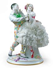 "Sculptural composition of Harlequin and Columbine from the ballet ""Carnaval"". From the ""Ballets Russes"" series. The sculpture was made either after the photograph of the couple Tamara Karsavina/Vaslav Nijinsky or that of Vera Fokina/Mikhail Fokine. Aelteste Volkstedter Porzellanmanufaktur Germany, Thuringia, 1915-1945"
