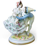 "Sculptural composition of Vaslav Nijinsky and Tamara Karsavina in the ballet ""Carnaval"". From the ""Ballets Russes"" series. Porcelain Manufactory Aelteste Volkstedter Porzellanfabrik AG Germany, Thuringia, 1912-1945"