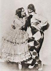 "Vaslav Nijinsky and Tamara Karsavina in the ballet ""Carnaval"". 1910"
