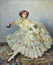 "У.Г. ДЕ ГЛЕН (WILFRID GABRIEL DE GLEHN; 1870–1951). Tamara Karsavina as Columbine from the ballet ""Carnaval"". 191"