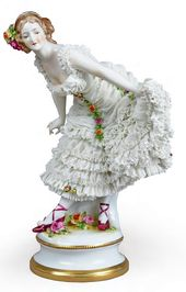 "Sculptural composition of Anna Pavlova as Kitri from the ballet ""Don Quixote"". Porcelain Manufactory Aelteste Volkstedter Porzellanfabrik AG Germany, Thuringia, 1912-1945"