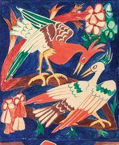 Natalia GONCHAROVA. Christ Pantocrator (Four Evangelists). 1916. Detail: pelicans