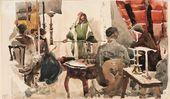 "Yelena POLENOVA. Artists at a ""Drawing Evening"" at Vasily Polenov's Home. 1889"