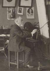 Vasily Polenov at Vasily Mathé's studio in St. Petersburg. Photograph. 1908