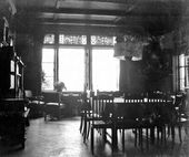 Interior view of the library. 1900s