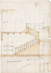 Vasily POLENOV. Stair Banister. Sketch drawing. Early 1890s