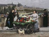 François-Marie FIRMIN-GIRARD. The Flower Seller on the Pont Royal with the Louvre Beyond, Paris. 1872