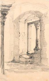 Vasily POLENOV. Architectural Drawing. From the artist's sketchbook, from his trip to Europe, 1872–1873. Detail
