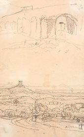Vasily POLENOV. Sketches of Albano. From the artist's sketchbook, from his trip to Europe, 1872–1873. Detail