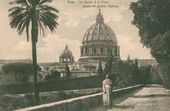 Rome. View of St. Peter's Basilica from the Vatican Gardens. Late 19th century