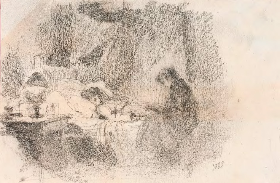 Vasily POLENOV. The Patient. Sketch for the first version of the painting. 1873