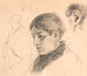 "Vasily POLENOV. Portrait of a Woman. Sketches for ""The Patient"". 1870s"