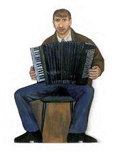 """Tatyana NAZARENKO. Street Musician. Figure from the """"Underpass"""" installation. 1995–1996"""
