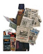 "Tatyana NAZARENKO. Newspaper Seller. Figure from the ""Underpass"" installation. 1995–1996"