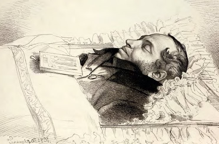 Fyodor BRUNI. Pushkin in His Coffin. 1837