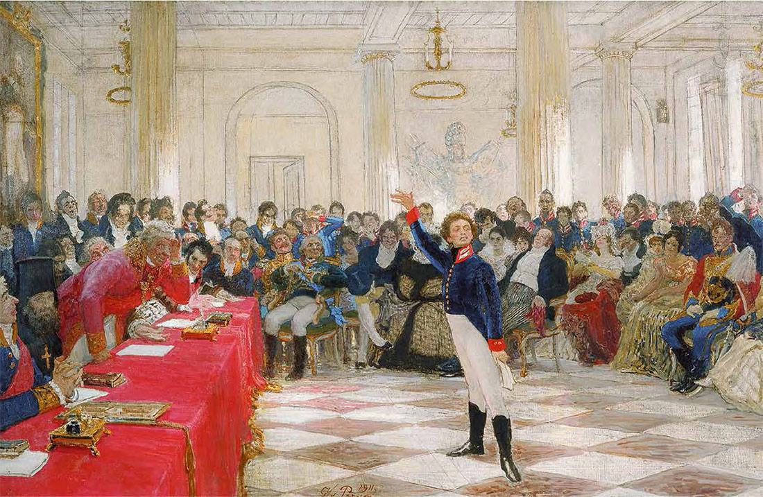 Ilya REPIN. Pushkin at an Examination at the Tsarskoye Selo Lyceum. 1911