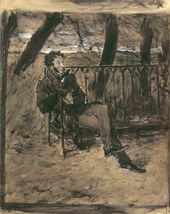 Valentin SEROV. Alexander Pushkin Sitting on a Park Bench. 1899