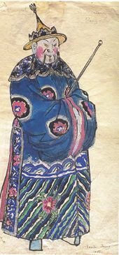 "Alexandre BENOIS. Costume design for the Blue Mandarin in ""The Nightingale"", opera by Igor Stravinsky. ""Ballets Russes"", Paris, 1914"