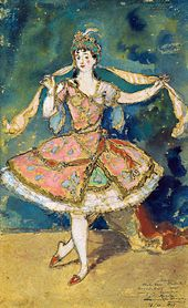 "Alexandre BENOIS. Sketch of the costume for Armide in Nikolai Tcherepnin's ballet ""Le Pavillon d'Armide"". 1907"