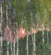 Alexander GOLOVIN. Birches at Night. 1908–1910