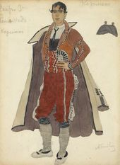 "Alexander GOLOVIN. Costume design for Le Remendado in ""Carmen"", opera by Georges Bizet, Acts II, III. Mariinsky Theatre, St. Petersburg, premiered 1908"