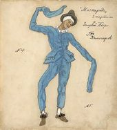 "Alexander GOLOVIN. Costume design for Blue Pierrot in ""Masquerade"" by Mikhail Lermontov. Scene 2. Alexandrinsky Theatre, Petrograd, premiered February 25 1917"